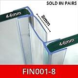 Vertikal Dusche Dichtungen | aus zwei | verwendet auf Bildschirme oder Türen | 15oder 25mm Rückseite Flossen | passend für 4–6mm Glas | 2Meter lang | fin001
