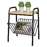 BOJU Petite Table de Rangement pour Magazines, Table Basse à côté du canapé, Table à thé, Salon, Chambre à Coucher, Cadre en métal