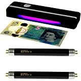 Portable UV Money Checker + 2 Spare DuraBulb® Bulbs - Detects Forged Bank Notes