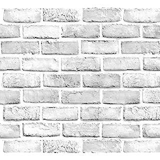 White Gray Brick Wallpaper Grey Self-Adhesive Contact Paper Home Decoration Peel and Stick Backsplash Wall Panel Door Stickers Christmas Decor (45cmx300cm) (White)