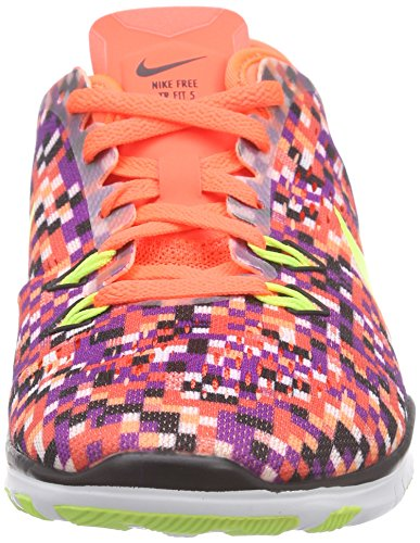 Nike Free Tr 5.0 Fit 5 Print, Chaussures Multisport Indoor femme Multicolore (Hyper Orange/Black-Volt 802)