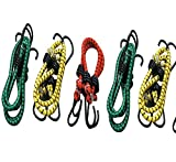 Glamio High Strength Elastic Bungee/Shock Cord Cables, Luggage Tying Rope with Hooks, Set of 5