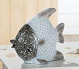 CHT Dekofigur Skulptur Figura Figur Fisch in Silber/Weiß, Deko, Tischdeko