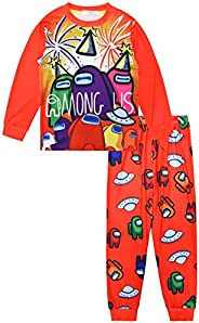 KK.YY Among Us Game Hoodie Set Bambini Cartoon Pigiama Ragazzi Felpa Ragazze Manica Lunga T-Shirt e Pantaloni