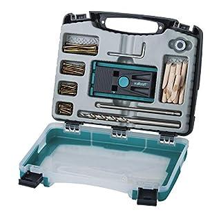 wolfcraft Undercover Jig-Set 4642000; Zuverlässige Bohrhilfe mit Schrauben für Holzverbindungen und das Bohren von Taschenlöchern; Im praktischen Kunststoffkoffer