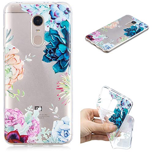 Nadoli Transparent Hülle für Xiaomi Redmi 5 Plus,Bunt Blumen Malerei Muster Crystal Kirstall Ultra Dünn Durchsichtige Schutzhülle Bumper für Xiaomi Redmi 5 Plus,Bunt Blumen