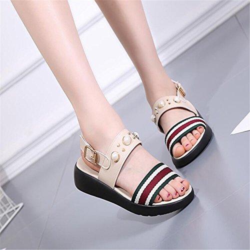 Weibliche Sandalen Sommer dicke Hang mit Sandalen Beige