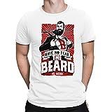 PAPAYANA - The-Beard-is-HERE - Herren Fun T-Shirt - Bedruckt - Large Weiß