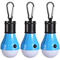 3 Pack Tent LED Light Bulb,PEMOTech Camping Light With Mountaineering Buckle Portable Lantern Emergency Night for Home, Fishing, Camping, Hiking,Backpacking & Other Indoor and Outdoor Activities,Battery Powered & Water Resistant Gift