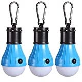 PEMOTech Unisex's [3Pack], Mountaineering Buckle Portable Lantern Emergency Tent LED Light Bulb for Home, Fishing, Camping, Hiking,Backpacking & Other Indoor and Outdoor Activities,Battery Powered & Water Resistant Gift, Blue