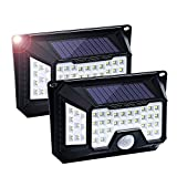 66 LED Solar Leuchte, Fityou Solarlampen für Außen mit Bewegungsmelder, 4-Seitige Drahtlose Solarlicht mit 120° Weitwinkel, Wasserdicht Breiter Beleuchtung Lampe mit 3 Modi für Garten, 2 Stücke