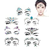 Tumao 7 Stück Strass Juwelen Face Tattoo Face Sticker, Schmucksteine Kristall Glitzersteine Aufkleber Temporäre Stickers Glitter Make-UP für Party Festival Shows, Glitzer Effekt, Parties, Shows.