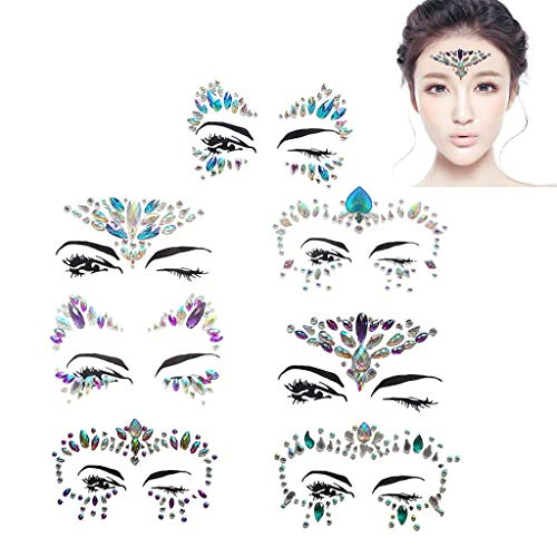 Tumao 7 Stück Strass Juwelen Face Tattoo Face Sticker, Schmucksteine Kristall Glitzersteine Aufkleber Temporäre Stickers Glitter Make-UP für Party Festival Shows, Glitzer Effekt, Parties, Shows. (Halloween Coole Augen Make-up)