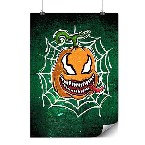 Wellcoda Spinne Kürbis Plakat Halloween A2 (60cm x 42cm) Glänzend schweres Papier, Ideal für die Gestaltung, Einfach zu hängen Kunst