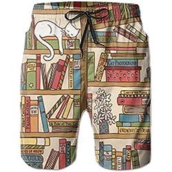Nueva Nerd Book Lover Kitty durmiendo sobre la estantería en la Biblioteca Pantalones de Playa para Hombres, Pantalones Cortos, Pantalones Cortos de Playa, bañador