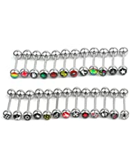 25X Bolitas Piercings de Lengua Tongue Nipple Bars Ring Joyería Moda Nuevo
