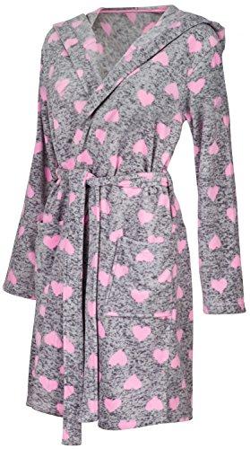 Glamour Empire Robe Herz-Druck Flauschige Morgenmantel Kapuze Seitentaschen. 216 Licht Rosa