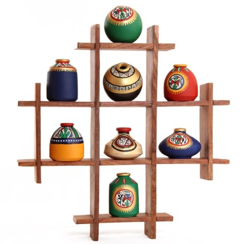 8 terracotta warli handpainted pots with sheesham wooden frame 8 Terracotta Warli Handpainted Pots With Sheesham Wooden Frame 51H6JnXSAeL