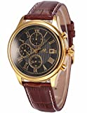 Ks Herren Armbanduhr Automatik Mechanik Uhr Braune Armband aus Leder
