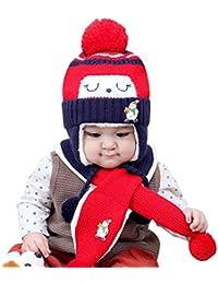 VENMO Bebé Niños Niñas Invierno Gorro Caliente Sombreros de Bolas de Tejer Sombreros Bufanda Conjuntos (roja)
