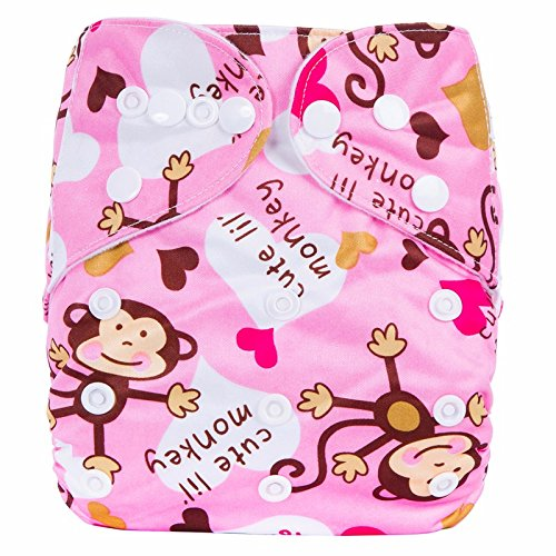 Baby Grow Waterproof Reusable Adjustable Diaper One Size Nappy 0-24 months (Pink Monkey)