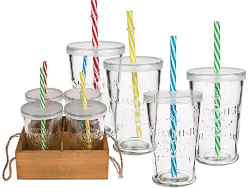 Trendiges Trinkglas Set Summer Party - 4 Gläser mit Deckel und bunten Mehrweg-Strohhalmen