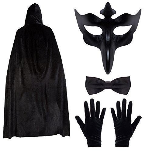 Herren Lange Nase Halloween Maskenball Umhang Satz - Umhang, Maske, Fliege & Handschuh Satz - Schwarz