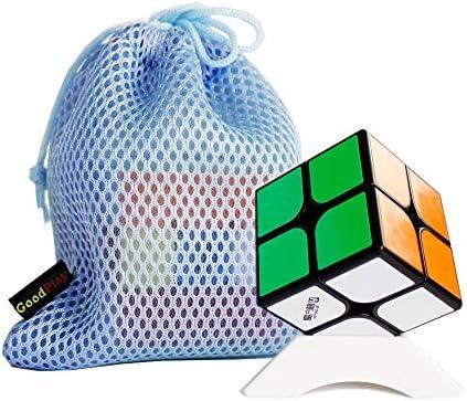 FunnyGoo Qiyi Mofangge WuXia M Magnetic 2x2 Magic Cube avec Un Sac de Cube et Un Support de Cube (Noir) | Dernière Arrivée