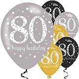 Feste Feiern Geburtstagsdeko Zum 80 Geburtstag | 6 Teile Luftballons Gold Schwarz Silber Metallic Party Set Happy Birthday