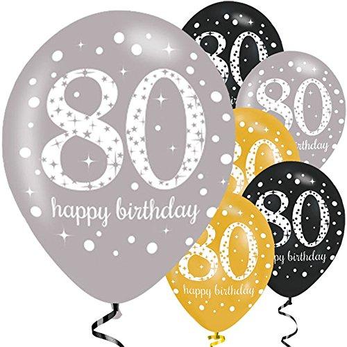 Feste Feiern Luftballon Deko 80. Geburtstag | 6 Teile Zahlenballon Ballon Gold Schwarz Silber metallic Helium Party Set Happy Birthday 80 Jubiläum