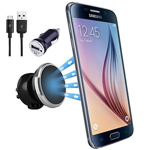 NessKa® Premium supporto universale Auto ventilazione Custodia magnetica con funzione di ricarica + caricatore per auto USB, cavo ricarica per Samsung Galaxy S7/S7Edge/S6/S6edge/edge +/S5/S5Neo/S4/S3/Mini/A5/A32016/A7/Active/Ace |