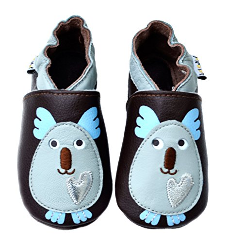 Lait et Miel Leder Lauflernschuhe Krabbelschuhe Babyschuhe mit Motiv Koala Bär blau blue 0-6 - Für Baby-schuhe Mädchen Koala