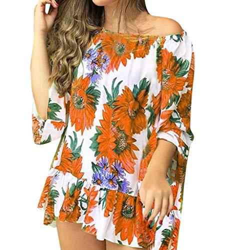 Kviklo Damen Plus Size Top T-Shirt Schulterfrei Sun Flower Geblümt Druck Bluse Kurzarm Loose Tee(10(32),Orange-1) - Orange Flower Body Cream
