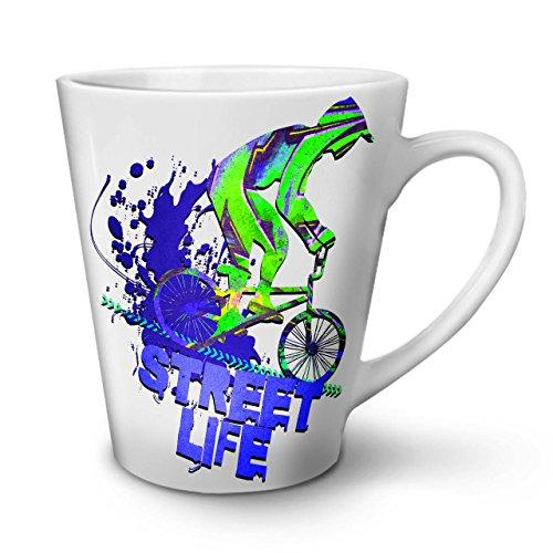 wellcoda strada vita bicicletta sport tazza di latte, urbano tazza di caffè - comodo manico, stampa a due lati, ceramica robusta