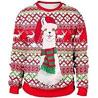 Sudadera con Capucha De Navidad 3D Impreso Creative Unisex Cuello Redondo Pullover Manga Larga Casual Blusa De La Camiseta M-2XL