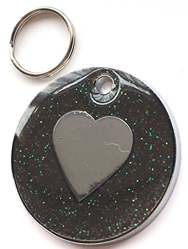 Große personalisierbar Greeny schwarz Glitter Emaille Love Herz Pet ID Tag 30mm (Große Greenies)
