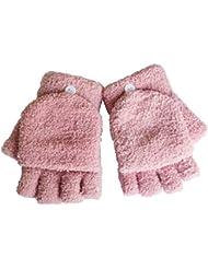 Femmes / filles avec des gants sans doigts Mitten couverture en peluche,rose