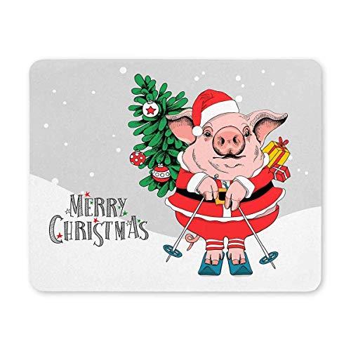 Maiale in costume rosso di Babbo Natale con abete albero Buon Natale rettangolo gomma antiscivolo Tappetino per mouse Tappetini per mouse / tappetini per mouse Custodia con disegni per ufficio casa do