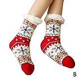 LILONGXI Warme Socken,Winter Weihnachten Socken rutschfeste Boden Verdickung Warme Socken, Mädchen Plus Rot Schneeflockenmuster Drucken Baumwolle Socken, Hausschuhe Freizeit Socken(3pcs)