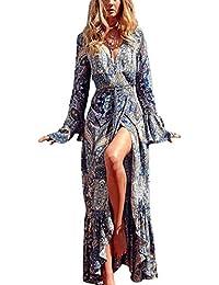 KE1AIP Womens Boho Loose V Neck Beach Cover-up à manches longues Side Slip Dress imprimé bandage ajustable Maxi Robe