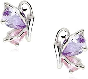 Farfalle Orecchini a lobo con Rosa Violetto Cristalli austriaci di zirconi 18 kt placcato oro bianco per donne e ragazze