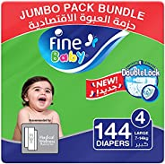 Fine Baby Diapers, DoubleLock Technology , Size 4, Large 7 - 14kg , Jumbo Pack. 3 packs of 48 diapers, 144 tot