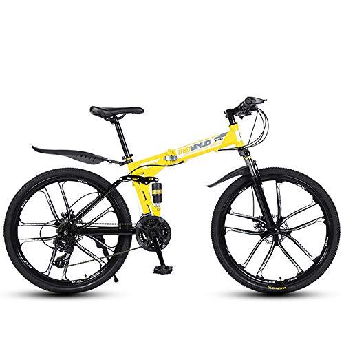 GWSPORT Mountainbike 26 Zoll Falträder 21 Geschwindigkeit Stoßdämpfung Leichter Fahrrad-Offroad-Reifen für Männer und Frauen,Gelb