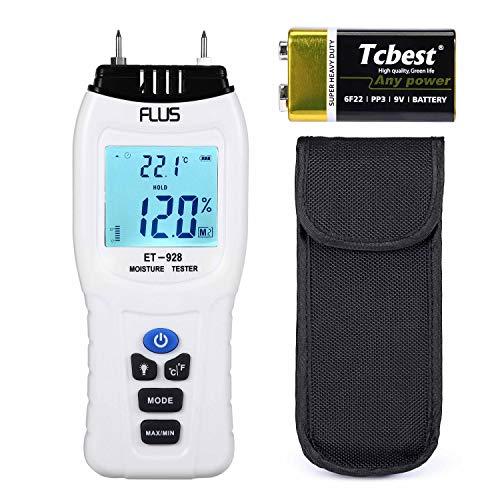 Suntime Feuchtigkeitsmessgeräte 2 Elektrosonden Portable mit einer 9V Batterie für Holzwände Brennholz Protokolle Kalk Gips Beton Karton Papier Ziegel und andere Materialien