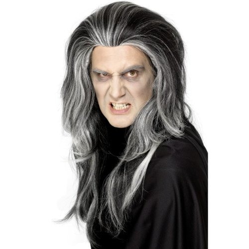 rren Perücke Gothic Vampir lang schwarz weiß zum Kostüm ()