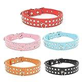 quanjucheer Halsband für kleine und mittelgroße Hunde, mit Strasssteinen, strapazierfähig, Kunstleder