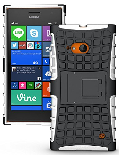 Heartly Flip Kick Stand Spider Hard Dual Rugged Armor Hybrid Bumper Back Case Cover For Nokia Lumia 735 730 LTE RM-1039 - Best White