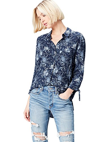 FIND Damen Bluse Floral Tie Sleeve Blau (Blue), 38 (Herstellergröße: Medium)