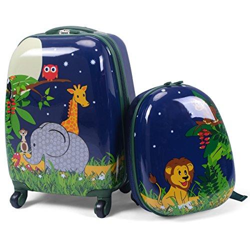 COSTWAY 2tlg Kinderkoffer + Rucksack Kofferset Kindergepäck Reisegepäck Kindertrolley (Navy)