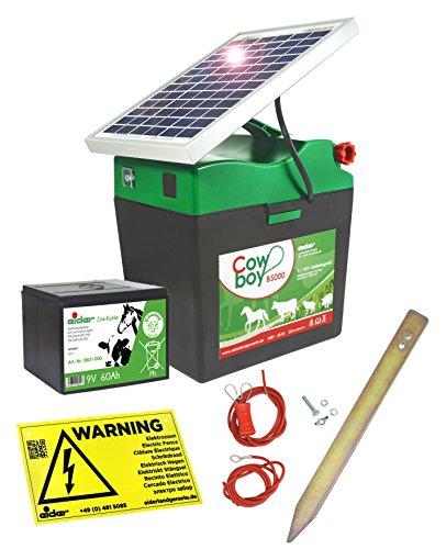 *Weidezaungerät Cowboy B 5000 SOLAR – 9V inkl. Batterie, Solar, komplettes Zubehör zum Anschluss – verlängert die Laufzeit um bis zu 140%*